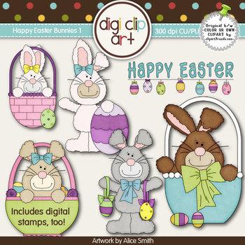 Happy Easter Bunnies 1-  Digi Clip Art/Digital Stamps - CU Clip Art