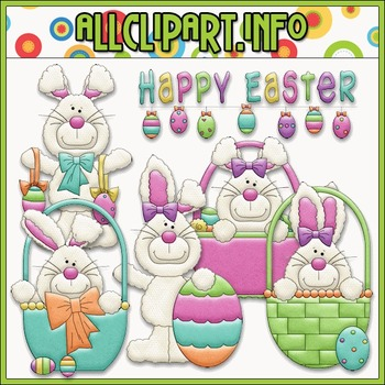 BUNDLED SET - Happy Easter Bunnies Clip Art & Digital Stamp Bundle - Alice Smith