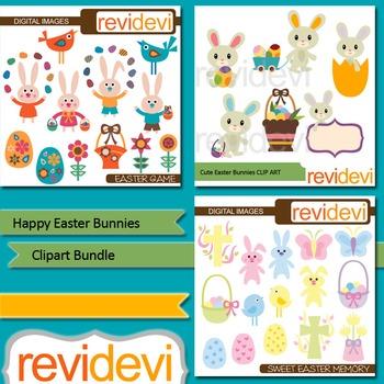 Happy Easter Bunnies clip art bundle (3 packs)