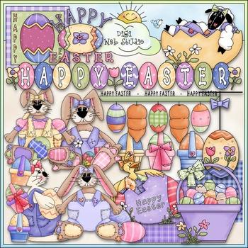 Happy Easter Clip Art - Easter Bunny Clip Art - CU Clip Art & B&W