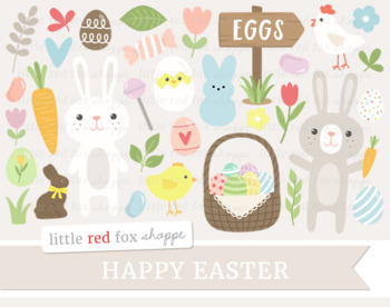 Happy Easter Clipart; Bunny, Egg, Carrot, Basket, Candy