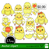 Happy Easter Clipart Chick hatching+Outline black and white,commercial use