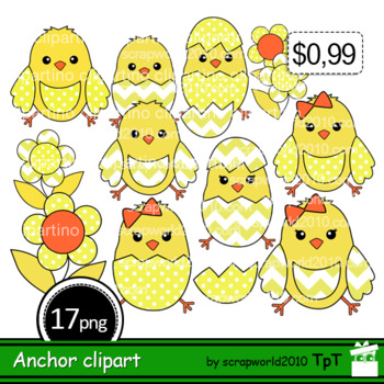 Happy Easter Clipart Chick hatching+Outline black and whit