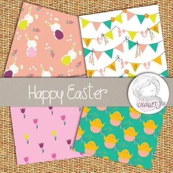 Happy Easter - Digital Paper, Easter Patterns, Easter and Spring Backgrounds