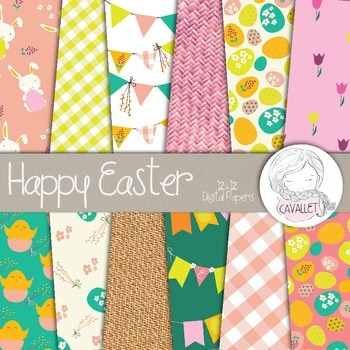 Happy Easter - Digital Paper, Easter Patterns, Easter and