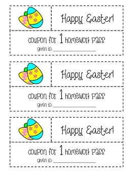 Happy Easter Homework Pass Coupon