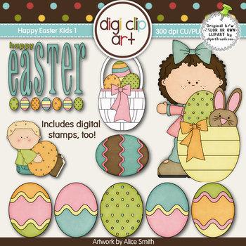 Happy Easter Kids 1-  Digi Clip Art/Digital Stamps - CU Clip Art