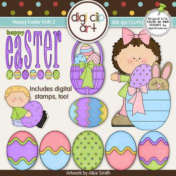 Happy Easter Kids 2-  Digi Clip Art/Digital Stamps - CU Clip Art