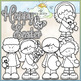 Happy Easter Kids Clip Art - CU Clip Art & B&W Set