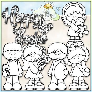 Happy Easter Kids - CU Clip Art & B&W Set