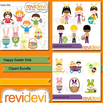 Happy Easter Kids clip art bundle (3 packs)