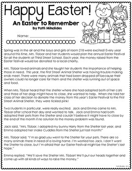 Happy Easter: Math & Literacy workbook/activity pages for 3rd, 4th grades/ESL