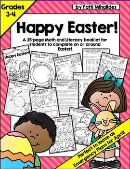 Happy Easter: Math & Literacy workbook/activity pages for