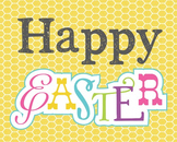 Happy Easter Poster, Class Decor, Holiday Sign, Bulletin Board