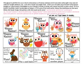 Happy Easter Quick Drill {for articulation or fluency therapy & RTi}