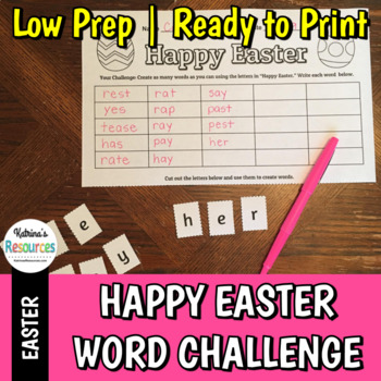 Happy Easter Word Creator Challenge - Literacy Activity