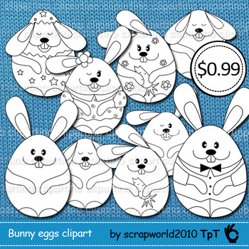 Happy Easter bunnies eggs clipart outline MEGA SALE 8png