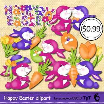 Happy Easter clipart bunnies,eggs,flowers,spring clip art MEGA SALE
