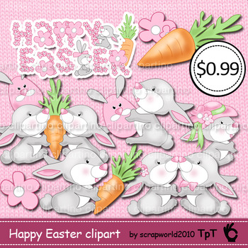 Happy Easter clipart bunnies,eggs,flowers,spring clip art