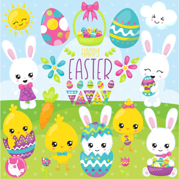 Happy Easter clipart commercial use, vector graphics  - CL1075