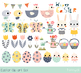 Happy Easter clipart set, Cute Easter bunny clip art, Easter eggs, chicks, hens