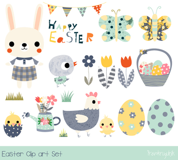 Happy Easter clipart set, Cute Easter bunny clip art, East