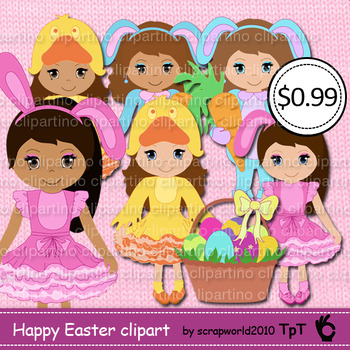 Happy Easter girl clipart vector clip art MEGA SALE