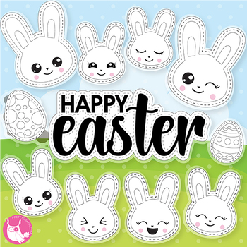 Happy Easter stamps,  commercial use, vector graphics, images  - DS1070