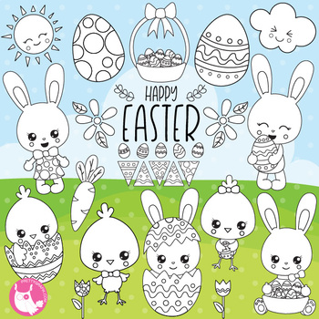 Happy Easter stamps,  commercial use, vector graphics, images  - DS1075