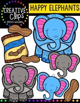 Happy Elephants {Creative Clips Digital Clipart}