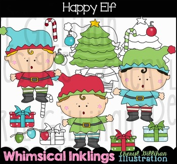 Happy Elf Clipart Collection NO LICENSE REQUIRED