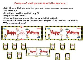 Smiley Face/Happy Face Theme ~ Skill Banners (Reading, Writing, Math, Science)