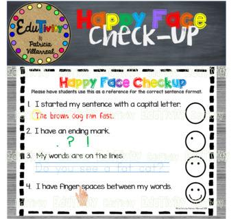 Happy Face Checkup: Writing Mini Anchor Chart