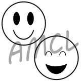 Happy Face Emojis (black and white version)