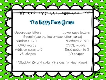 Happy Face Games for Math and Literacy