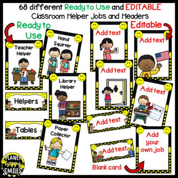 Classroom Helper Jobs (EDITABLE) ~ Smiley Face, Happy Face Helpers
