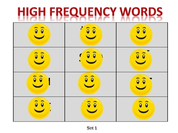 Happy Face High Frequency Words - Reveal Set 1