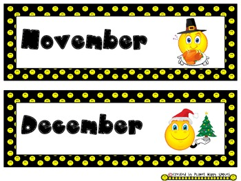 Smiley Face, Happy Face Months of the Year