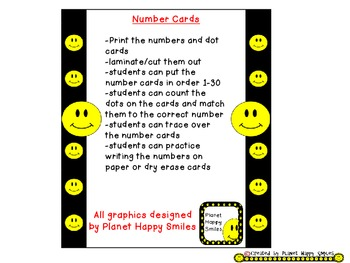 Smiley Face, Happy Face Number Cards