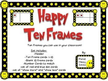 Smiley Face, Happy Face Ten Frames