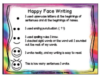 Happy Face Writing {Editing Checklist} Rainbow Theme