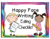 Happy Face Writing {Editing Checklist} Rainbow Theme