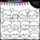 Happy Faces Toppers - Clip Art & B&W Set