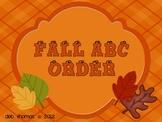 Happy Fall ABC Order!