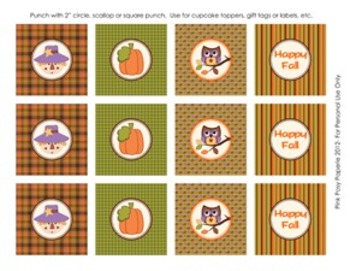 Happy Fall Classroom Party Cupcake Toppers
