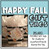 Happy Fall Gift Tags EDITABLE