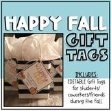 Happy Fall Gift Tags EDITABLE