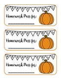 Happy Fall Homework Pass