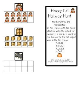 Happy Fall Hunt Numbers 0 to 10 and Ten Frames plus 1, 2 minus 1, 2