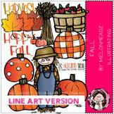 Happy Fall clip art - LINE ART- by Melonheadz